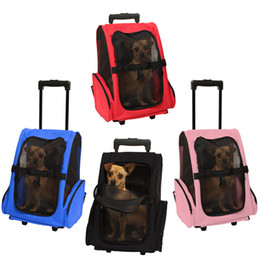 Wholesale Dog Bags Roll - Pet Carrier Dog Cat Rolling Back Pack Travel Airline Wheel Luggage Bag