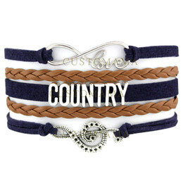 Wholesale Dropshipping Bracelet - Custom-Infinity Love Country Music Charm Wrap Bracelets Country Girl Shake it for me Navy Brown Custom any Themes Dropshipping