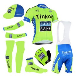 Wholesale Full Sublimation - Full sublimation Green saxo bank cycling wear team thinkoff Cycling jersey gel shorts suit bike team For Man design jersey