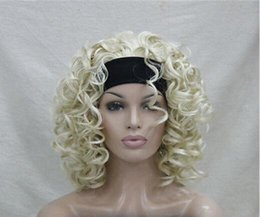 Wholesale Blonde Spiral Curly Wig - Free Shipping>>>2017 Ladies Bleach Blonde Curly Spiral Half Headband Cosplay Hair Wig