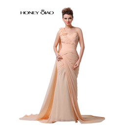 Wholesale Cheap Real Designer - Honey Qiao 2017 Prom Gowns Long Chiffon Prom Dresses One Shoulder Backless Ribbon Cheap Evening Gowns Robe De Soiree Real Photo
