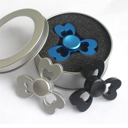 Wholesale Shape Heart Pattern - Newest fidget spinner clover pattern finger gyro three leaf heart shaped butterfly alloy fingertip gyro decompression toys with retail box