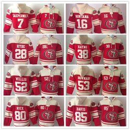 Wholesale Mixed Hoodies - Stitched Hoody 7 KAEPERNICK 16 MONTANA 28 HYDE 38 HAYNE 80 RICE 85 DAVIS 52 53 Red hockey Men Ice Jerseys Hoodie Jersey Mix Order