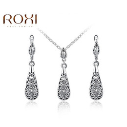 Wholesale Womens Bridal Sets - ROXI Brand Elegant Statement White Gold Color Water Drop Fashion Womens Party Bridal Jewelry Sets Dangle Earrings Necklace