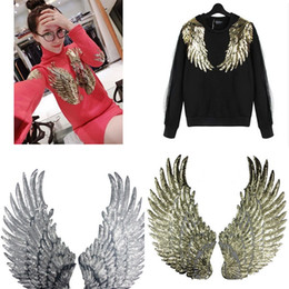 Wholesale Quilt Patch Fabrics - 1 Pair Angel Wing Sequin Embroidered Fabric Large Patch Applique Stick Clothes Decorate Accessories DIY Gold Silver