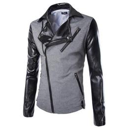 Wholesale Men Fashion Simple Coat Style - Wholesale- Hot Sale New Style Stylish Slim Simple Stitching Leather Jacket Men's Coat Casual Men Blazers