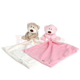 Wholesale Bear Stuffing - Wholesale- Bear Baby Kids Appease Towel Comforter Plush Stuffed Washable Blanket Soft Smooth Toy