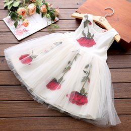 Wholesale Gauze Clothing Wholesale - Baby Princess Dress 2017 Summer New Medium and Small Children's Clothing Embroidered Rose Gauze Dress Princess Dress