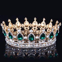 Corona de cristal dorado online-2019 Emerald Green Crystal Gold Color Chic Royal Regal Sparkly Rhinestones Tiaras y coronas Bridal Quinceanera Pageant Tiaras 15 colores