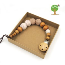 Wholesale Pine Wood Color - Wholesale-sale Pine wood shade khaki crochet beads Pacifier Clip Holder baby boy color Safe for teething baby Baby shower gift NT161