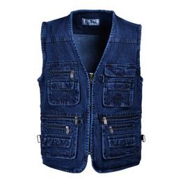 Wholesale Sleevless Jackets - Wholesale- Free shipping Male Denim Vests Men 3XL 4XL 5XL Vest Mens Outdoors Cotton Multi Pocket Sleevless Jean Jacket Men Jeans Masculino