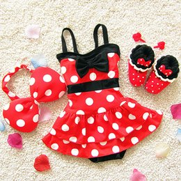 Wholesale Wholesale Girls Hair Pieces - Baby Clothes Girls Swimsuit Swimwear Bikini Princess Dress 2PCS Dot Bowknot One-Piece Bathing Suit With Hair Band Kids Clothing XY237
