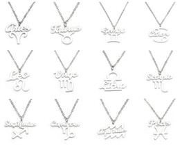 Wholesale stainless zodiac pendant - 2017 Newest 12 Zodiac Signs Stainless Steel Pendant Necklaces Retro Twelve Constellations Pendant Necklaces Simple Birthday Necklace