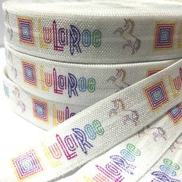 "Wholesale Wholesale Foe Headband - 100yards 5 8"" Lularoe Unicorn Print White Fold Over Elastic Heat Transfer Print Unicorn FOE Elastic Ribbon for DIY Headwear Hair Accessories"
