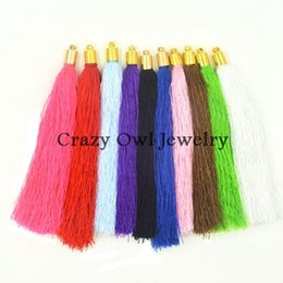 Wholesale Gold Plated End Caps - Wholesale-Gold Silver Bronze Rhodium Silver End Caps 20pcs lot Mix Colors Silk Tassel Charms Pendants Jewelry Tassels DIY Findings Y1183