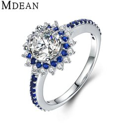 Wholesale Genuine Sapphire Jewelry - MDEAN Sapphire 925 Sterling Silver Jewelry Pure Solid Genuine Round CZ Diamond Engagement Rings for Women Wedding Bague MSR460