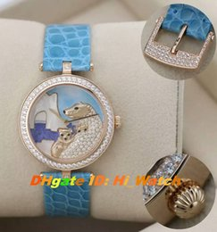 Wholesale New Polar Bear - Super Clone 38mm Van Cleef & Arpels VCARO22F00 Rose Gold Diamond Bezel 3D Polar Bear Dia Swiss Quartz Womens Watch Lady Watches Leather 2c