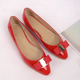 Wholesale Women Shiny Flat Shoes - SMI07 Metal Buckle Bow Bowtie Flat Heel Ballet Flats Women Shiny Red Patent Leather Genuine Leather Shoes Sz 35-39
