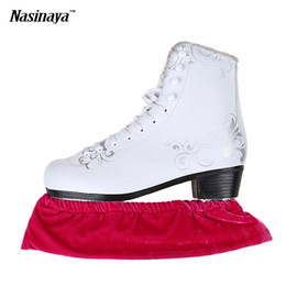 Wholesale Adult Ice Skating - Wholesale- Child Adult Velvet Ice Skating Figure Skating Skate Blade Cover Guard Solid Color Hockey Skate Accessory Athletic Elastic