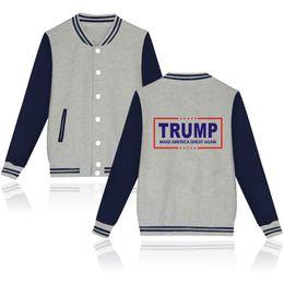Wholesale Mens Jackets Wholesalers - Trump Printing Mens Jackets Hip Hop Jackets For Men Baseball Jacket Sports Jacket Stand Collar Mens Coat 4 colors LA328