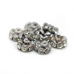 Wholesale Spike Beads Black - Wholesale Wavy Edge Rondelle Spacer Beads Metal Black Lead Plated Crystal Clear Rhinestone For Jewelry Making, 100pcs pack, IA02-04