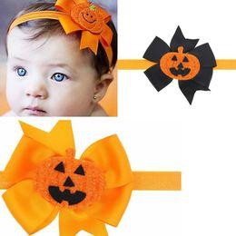Wholesale Baby Personalities - 5pcs lot Personality Kids Pumpkin Hair Bows Halloween Skull Head Ribbon Headband Hair Band Accessories For Girl Children Baby