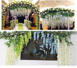 Wholesale Violet Rooms - 180cm Wholesale Wedding Decoration Emulation Flower Living Room Interior Decoration Plastic Flower Vine Violet Wall Hang