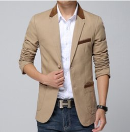 Wholesale Casual Male Blazers - Wholesale- New 2016 M - 5 xl Big Size Blazers Men's Pure Cotton Splicing Suits Male Brand Casual Jacket