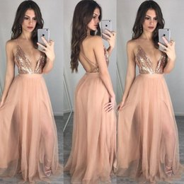 Wholesale Holiday Dress Rose - Rose Gold Sequins Beach Party Holiday Occasion Prom Gowns Spaghetti Backless Split Elegant A Line Floor Length V-Neck Evening Dresses Cheap