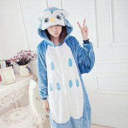 Wholesale Anime Costume Owl - 2017 Unisex Flannel Animal Pajama Adult Owl onesie cosplay costume for party