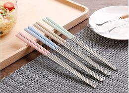 Wholesale Green Chopsticks - Wheat and 304 stainless steel chopsticks Green environmental protection wheat elements chopstick Non-slip length 23 cm