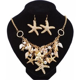 Wholesale Starfish Necklace Jewelry Set - Gold Big Starfish Conch Shell Statement Necklaces Bracelet Earrings Jewelry Set For Women Summer Beach Fashion Accessories Gifts