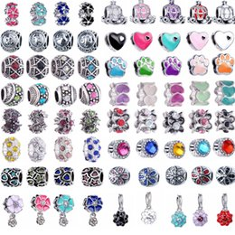 Wholesale large hole metal charm beads - Mixed style DIY jewelry accessories wholesale alloy big hole beads, enamel european charms for bracelet, Italian large hole metal beads bulk