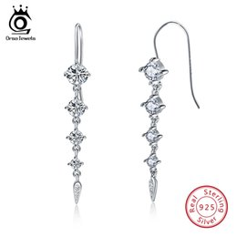 Wholesale Pure Stud - ORSA JEWELS Pure 925 Sterling Silver Earrings Women Long Dangle AAA CZ Trendy New Jewelry Christmas Gifts For Girls SE52