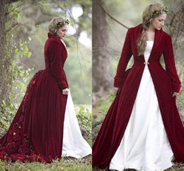 Wholesale bridal jacket floor length lace - 2018 Winter Christmas Ball Gown Wedding Dresses Cloaks Burgundy Velvet Long Sleeves Flowers Plus Size Formal Bridal Gowns With Jacket Coat