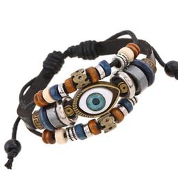 Wholesale Turkish Eye Bracelets - 2017 Punk Style Leather Bracelet Ethnic Multilayer Black Adjustable wrap Bracelet Eye Charm bead Turkish Jewelry