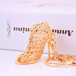 Wholesale Golden Ring Women - DHL FREE Creative gifts fashion high heels keychains golden silver key chains popular car key ring unique designer high-heeled shoes keyring