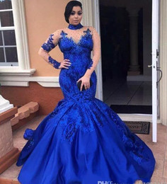 Wholesale acrylic floors - Fashion High Neckline Prom Dress Illusion Long Sleeve Sequined Applique Mermiad Evening Gowns 2017 Stunning Royal Blue Celebrity Party Dress