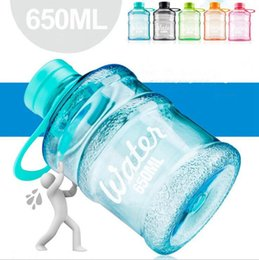 Wholesale Bike Training - 650ml Mini Bucket Sealed Cups Creative Portable Outdoor Bike Fitness Training Sports Camping Drinking Plastic Water Bottle OOA2081