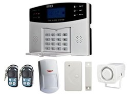 security alarm siren Coupons - Wholesale- wireless home security alarm system gsm alarm system door sensor+ infrared detector+siren+power adapter+2pcs remote controller