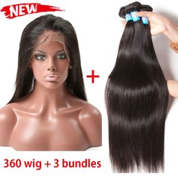 Wholesale Wig Bundles - 360 Lace Frontal with Bundles 3 Bundles Brazilian Straight Human Hair Lace Wigs with Baby Hair 360 Lace Frontal with Natural Hairline