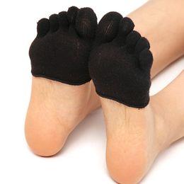 Wholesale Open Toe Socks Women - Wholesale- Half Foot Socks Finger Skid Peep Toe Anti Slip Pilates Ankle Durable High Heel Half Open Five Socks