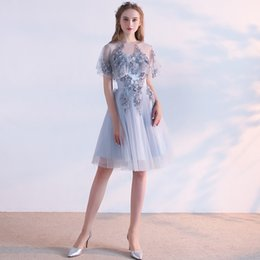 Wholesale Lace Bridesmaid Dresses Jacket - SSYFashion New Bridesmaid Dresses Elegant Sweet Grey Lace Flower with Jacket Knee-length Short Party Formal Gown Robe De Soiree