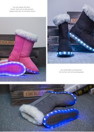 Wholesale Elevator Shoes New Arrivals - Snow Shoes LED Flash Shining Elevator Shoes Winter New Arrival Warm Fashion and Antiskid USB Charging 4 Colors