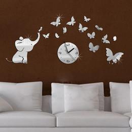 Diseños de habitación superior online-Al por mayor-top de moda bebé caliente espejo de pared de acrílico reloj moderno diseño de muebles salón espejo pegatinas fondo envío gratis