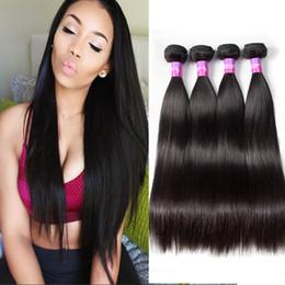 Wholesale Cheap High Quality Hair Extensions - Brazilian Straight Virgin Hair Brazilian Pneruvian Malaysia Unprocessed Human Hair Extensions 4 Bundles Cheap High Quality ONEOK