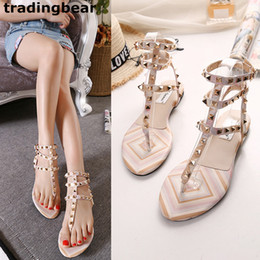 Wholesale Flat Ivory Sandals - New rock style rivets flat sandals women flip flops patchwork T strap flip flop shoes size 35 to 39