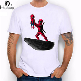 Wholesale Cool Long Shorts - Wholesale- Hepeep+2017 super cool design men's short sleeve the spider king and Deadpool print T-shirt male Tee shirt unusual funny tops