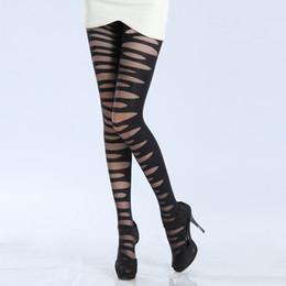 Wholesale Cotton Tights For Women - Wholesale- Women velvet Sexy Pantyhose False Ripped Long Cotton Stockings Striped Tights for Student girls
