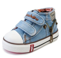 Wholesale Winter Boots For Baby Boys - 2017 Canvas Children Shoes Boys Sneakers Brand Kids Shoes for Girls Baby Jeans Denim Flat Boots toddler shoes YS66